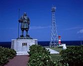 Benkei Cape Cape Suttsu Hokkaido Japan Bronze statue Steel tower Blue sky Lighthouse Sea