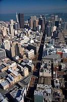 Aerial view of the city and bay of San Francisco, California.