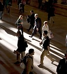 Early morning commuters at Grand Central terminal in New York City.