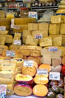 Varieties of cheese for sale at the Mercado Municipal in Sao Paulo, Brazil.