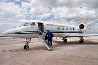 The NOAA´s National Oceanic and Atmospheric Administration Gulfstream 4 high altitude sampling jet prepares for a mission into Hurricane Katrina.
