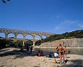 Pont du Gard Avignon Provence France River Swimsuit Tree Bridge Blue sky