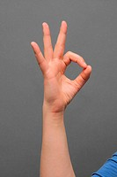 The American Sign Language for the letter ´F.´