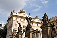 Gate to enter the Archbishop Palace in Prague, Czech Republic.