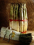 bunches of white and green asparagus