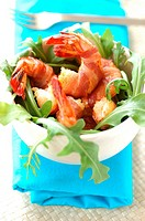 Roast Mediterranean prawns, smoked bacon and rocket lettuce (thumbnail)