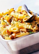 penne pasta bake with aubergine and chicken