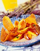 lavender_flavored apricot and peach salad with crunchy wafers