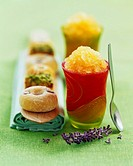 melon and honey granita with mini donut