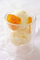 white chocolate ice cream, Cointreau and preserved clementine