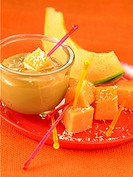 Diced melon with coconut and milk jam
