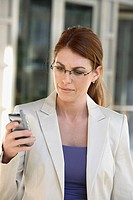 Business woman checking messages