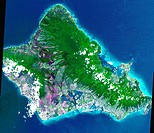 This 60 by 55 km ASTER scene shows almost the entire island of Oahu, Hawaii on June 3, 2000. The data were processed to produce a simulated natural co...