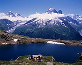 The Lacq Blanc hiking course Chamonix France Mountain Water surface People Blue sky