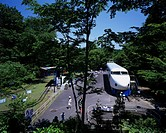 The Ome railroad park Ome Tokyo Blue sky Tree Plant Shinkansen Train People Track