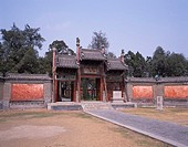 Gate, Tile, Wall, Zhougong Mausoleum, Qufu, Shandong, China, April