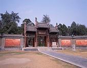 Gate, Tile, Wall, Zhougong Mausoleum, Qufu, Shandong, China, April