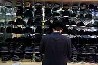 Kippa shop, Orthodox Jews Mea Shearim quarter, Jerusalem, Israel
