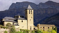 Torla church and paredes de Mondaruego, Ordesa National Park. Huesca province, Arag&#243;n, Spain
