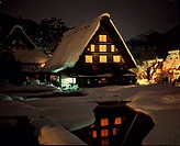 Thatched roof, Winter, Old house, Light up, Snow, Private house, Shirakawago, Gassho colony, Evening view, Shirakawa, Gifu, Japan
