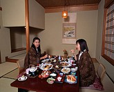 Meal scenery Shima Onsen Nakanojo Gumma Japan Japanese room Yukata Legless chair Hanging scroll Tatami Japanese Cuisine