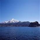 Peshi cape Rishiri mountain Rishiri island Hokkaido Japan Sky Snow_covered mountain Mountain Tree Sea