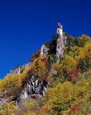 Sounkyo Ravine, Canyon, Kamikawa, Hokkaido, Japan, Blue Sky, Clouds, Tree, Plant, Red leaves, Cliff, Autumn
