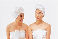 Young Women Wearing Towel Round Hair