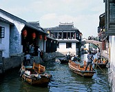 Pleasure boat, Ditch, Zhouzhuang, Suzhou, Jiangsu, China, Row of houses, ship, bridge, tourist, November