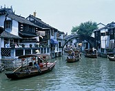 Riverside area, Zhujiajiao, Tourist Ship, Taian bridge, Shanghai, China