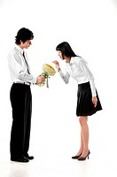 Man Giving Flowers To Woman,Korean
