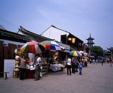 Souvenir store, Zhouzhuang, Jiangsu, China, stall, parasol, tourist, tower, way, May