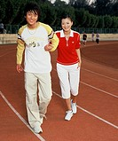 Young Asian people wearing casual sports clothing