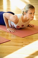 Caucasian Adult female doing yoga