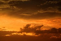 Golden yellow and orange sunset sky and clouds (thumbnail)