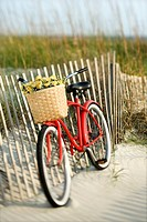Red vintage bicycle with basket and flowers leaning against wooden fence at beach (thumbnail)