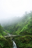 Mist above waterfall on the Road to Hana, Hana Highway, Hawaii, USA