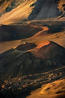 Aerial of dormant volcano in Haleakala National Park, Maui, Hawaii