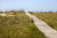 Wooden access path to beach on Bald Head Island, North Carolina