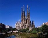 Church Sagrada Familia Barcelona Spain Blue sky Green Pond Water surface Reflection