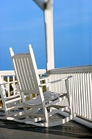 Rocking chairs on porch on Bald Head Island, North Carolina