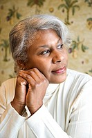 Portrait of mature African American woman looking to the side