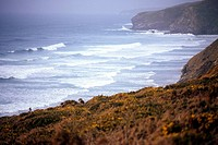 Shoreline vistas with waves and mist Devon near Newquay England UK