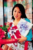 Young Woman Holding Presents,Korean