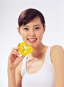 Woman Holding Bellpepper, Korean