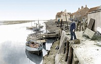 Wells_next_the_Sea, Whelk Boats at the Quay 1929