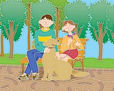 Young man and woman taking a dog for a walk in the park, Illustration