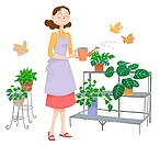 A mother watering plants, Illustration