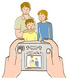 Person taking a picture of family with digital camera