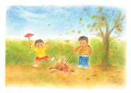 Two boys baking sweet potatos in fire, Illustration